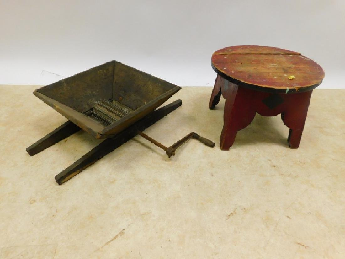 GRAPE GRINDER AND CIRCUS STOOL