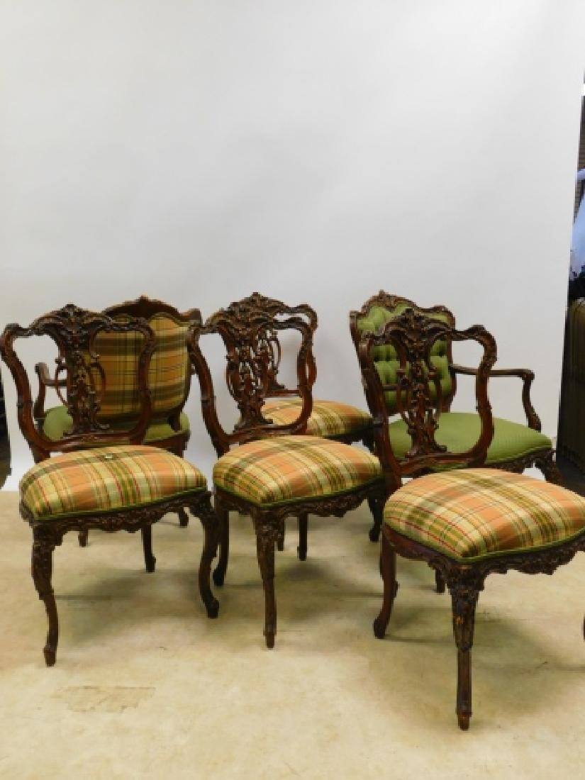 SET OF 6 FRENCH CARVED DINING CHAIRS