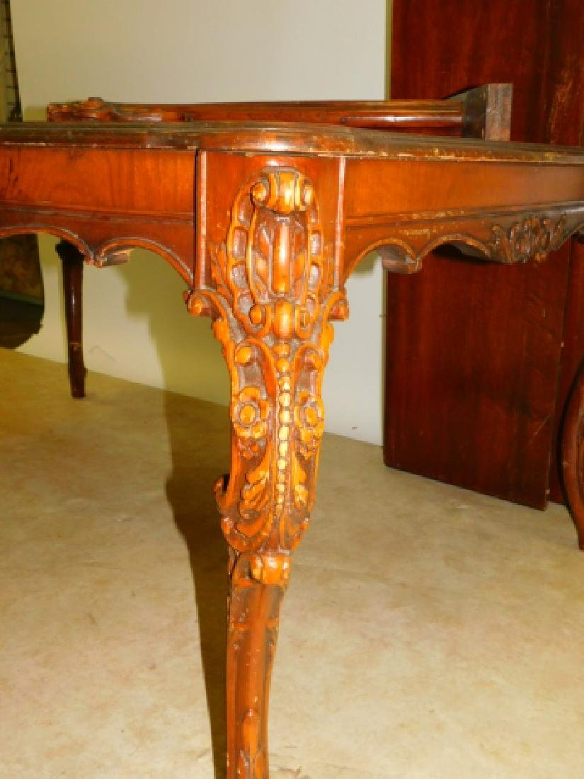 CARVED MAHOGANY DINING TABLE - 2