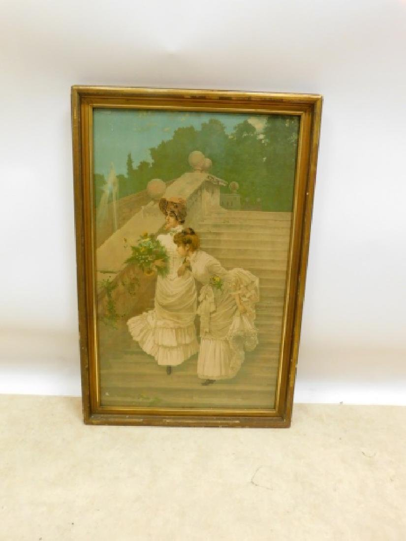 VICTORIAN PRINT OF TWO GIRLS