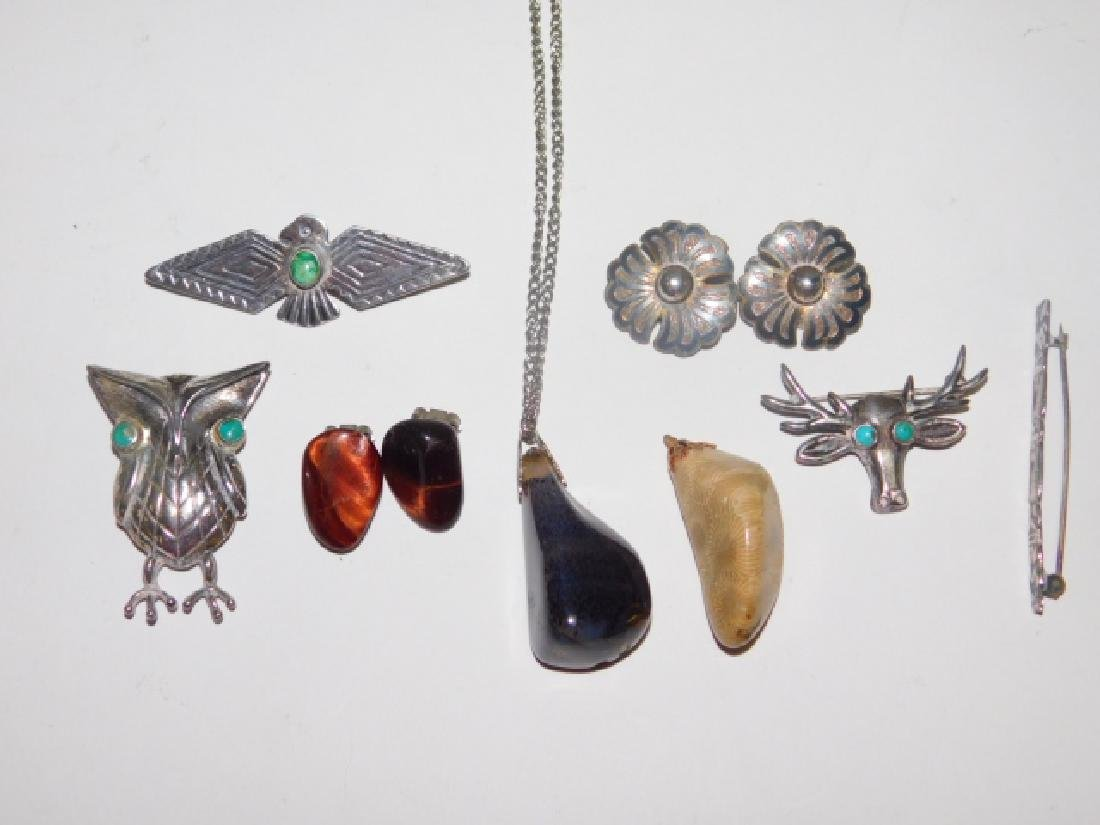 COLLECTION OF STERLING AND HARD STONE JEWELRY