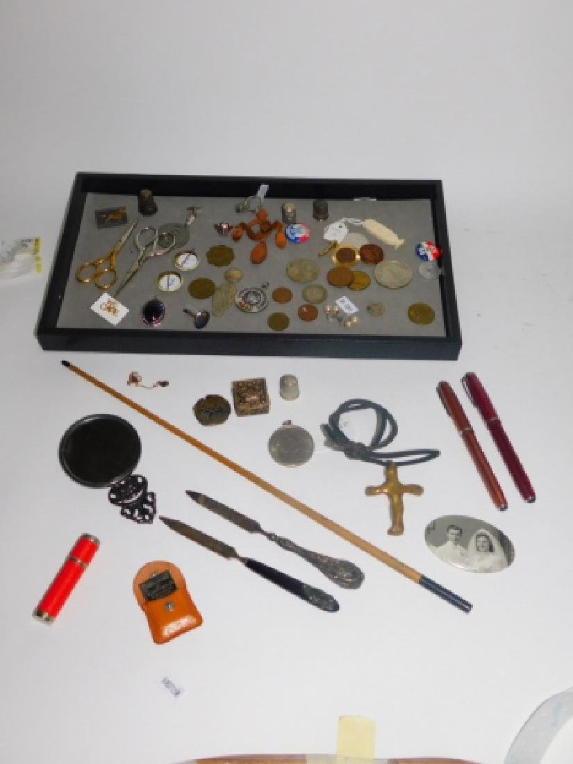 COLLECTION OF COINS, BUTTONS, GROOMING TOOLS &
