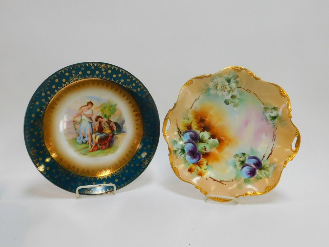 TWO HAND PAINTED PLATTERS