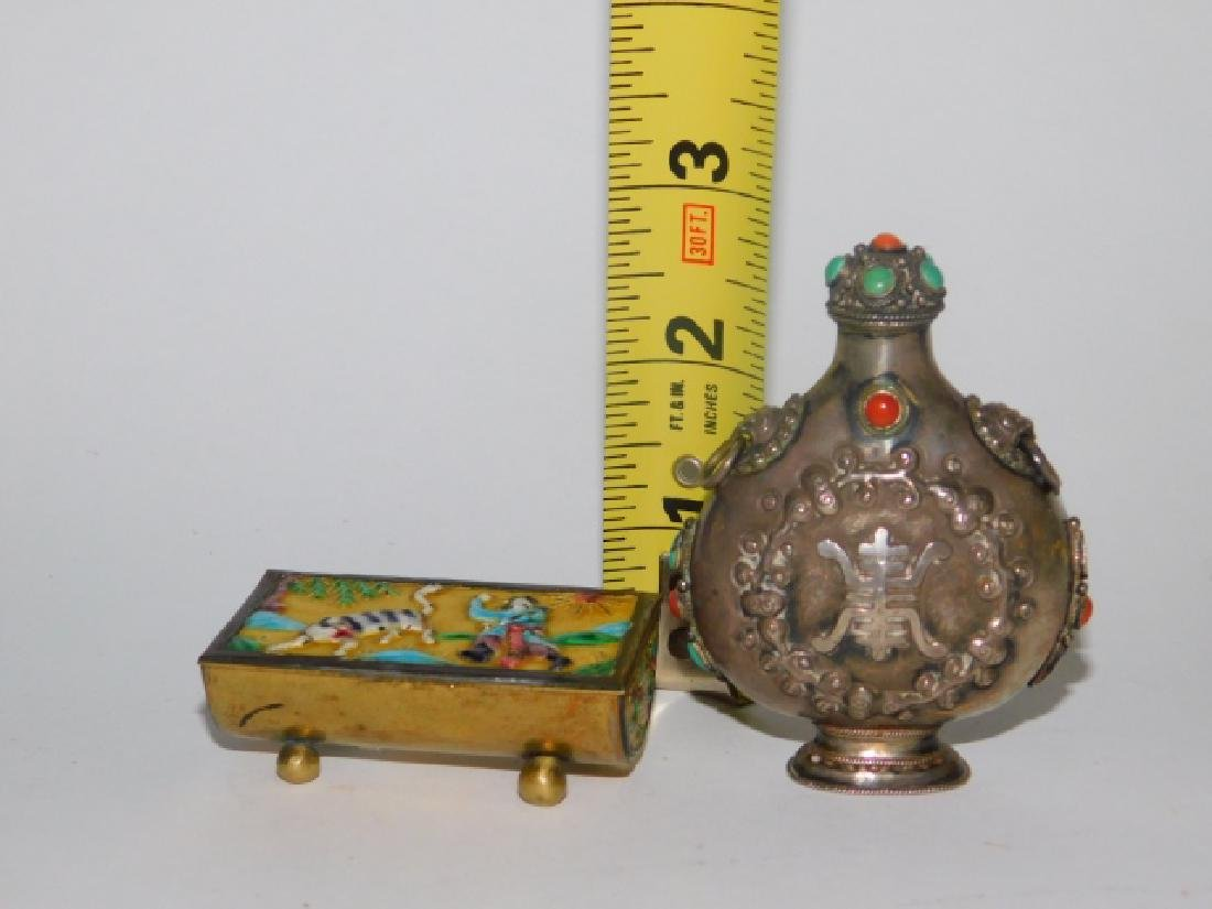 CHINESE SNUFF BOTTLE, TRINKET BOX, AND KNIFE - 7