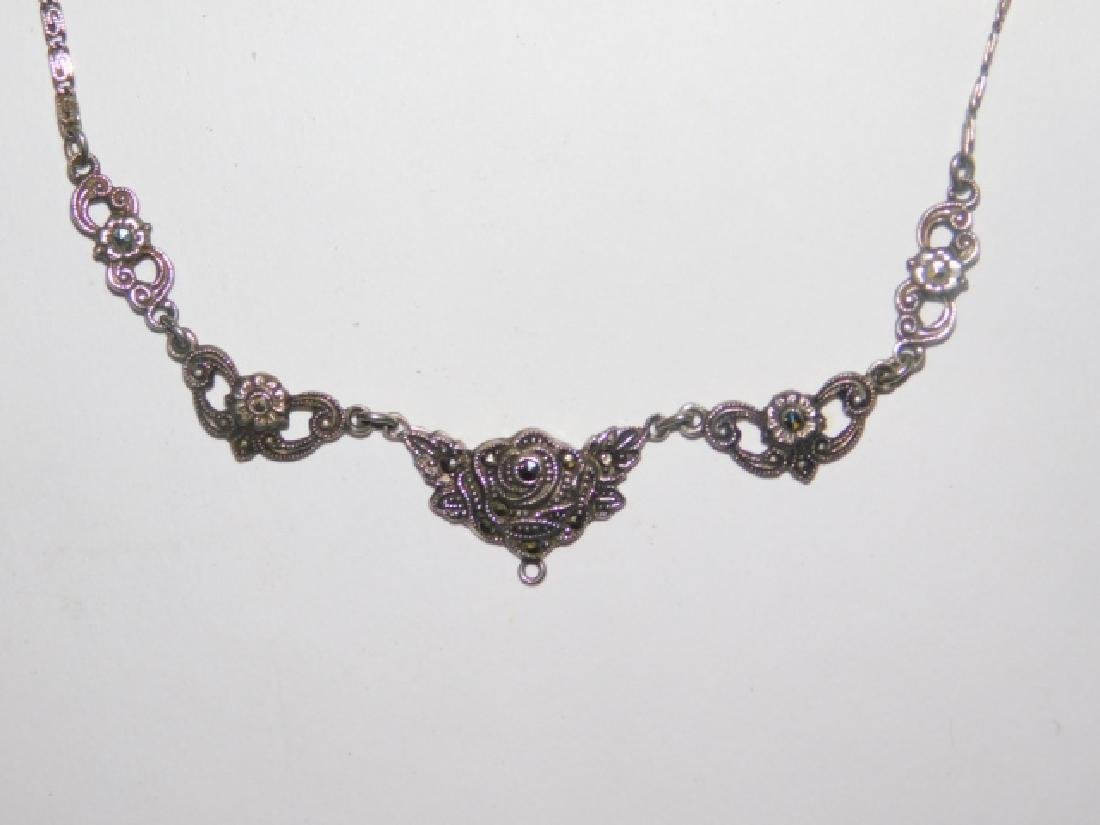 STERLING SILVER MARCASITE NECKLACE