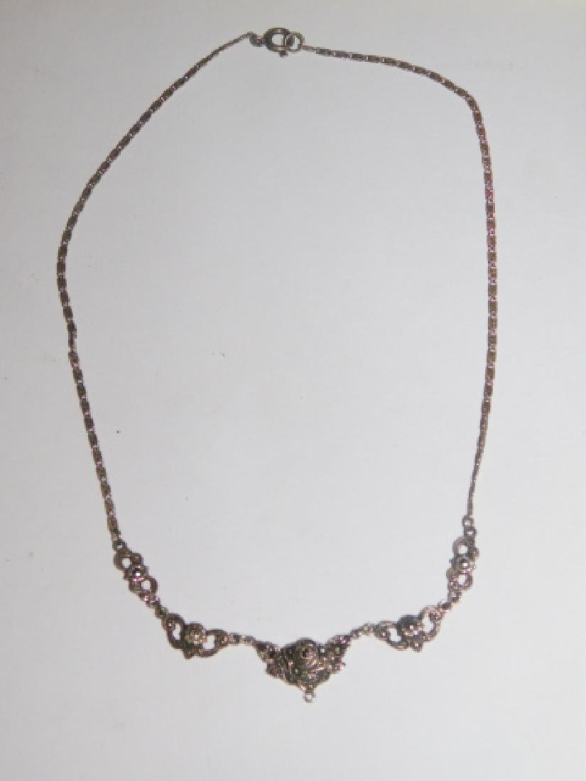 STERLING SILVER MARCASITE NECKLACE - 2
