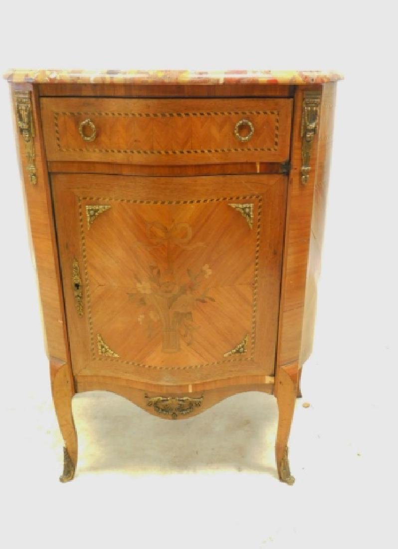 FRENCH MARBLE TOP INLAID COMMODE