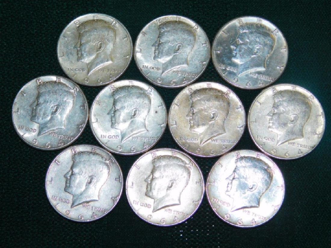 TEN 1964 KENNEDY HALF DOLLARS