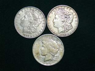 1879 AND 1921 MORGAN SILVER DOLLARS PEACE DOLLAR
