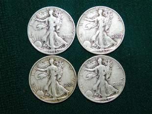 FOUR STANDING LIBERTY HALF DOLLARS