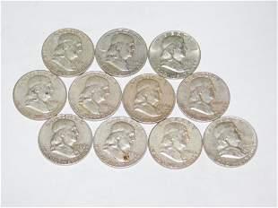 11 FRANKLIN HALF DOLLARS