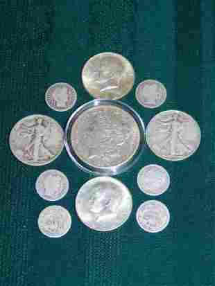 KENNEDY HALFS STANDLING LIBERTYS AND BARBER DIMES