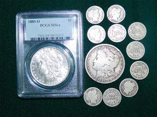 TWO MORGAN SILVER DOLLARS AND 10 BARBER DIMES