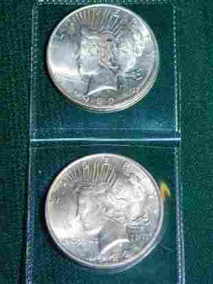 TWO 1922 PEACE DOLLARS