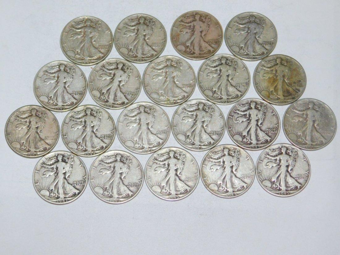 20 STANDING LIBERTY HALF DOLLARS