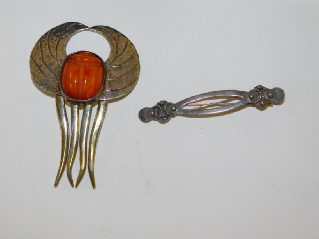 STERLING HAIR COMB AND PIN
