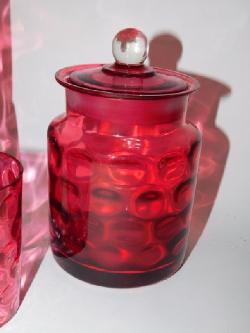 CRANBERRY PITCHER, JAR, AND DECANTER - 3