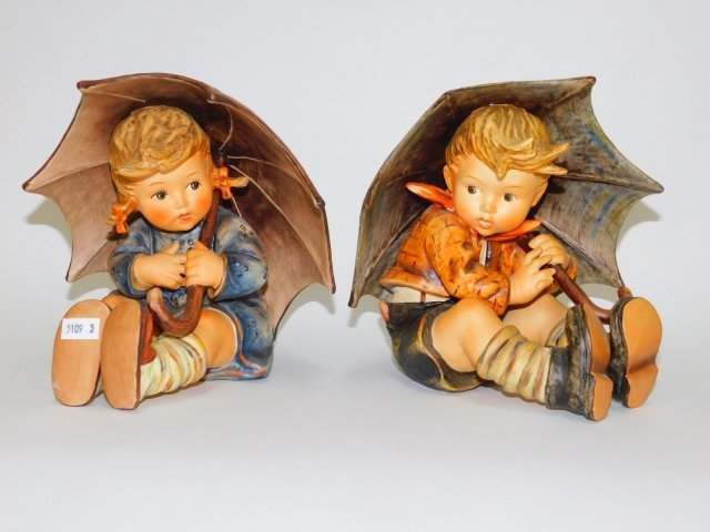 LARGE HUMMEL UMBRELLA BOY AND GIRL FIGURES