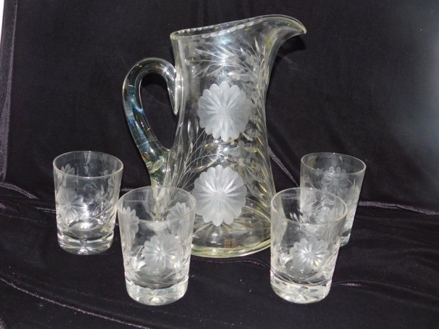 CUT GLASS PITCHER AND DRINKING GLASSES