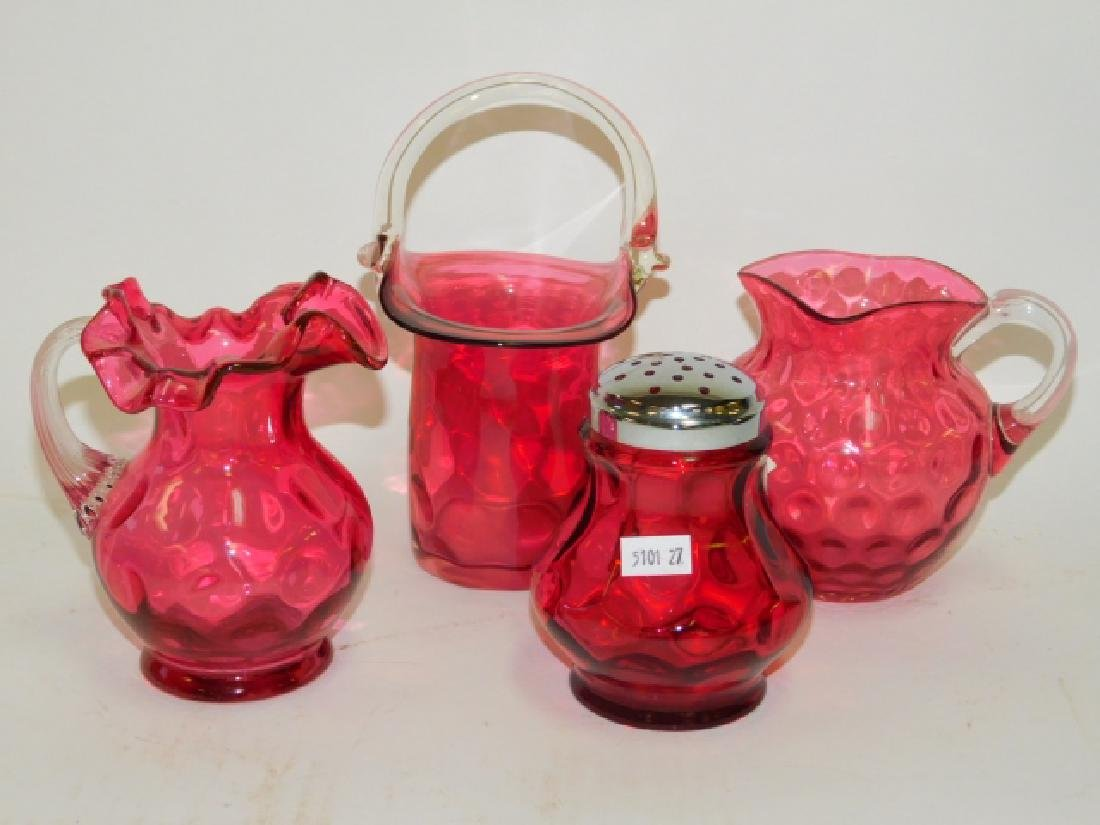 RUBY GLASS VASES AND SHAKER