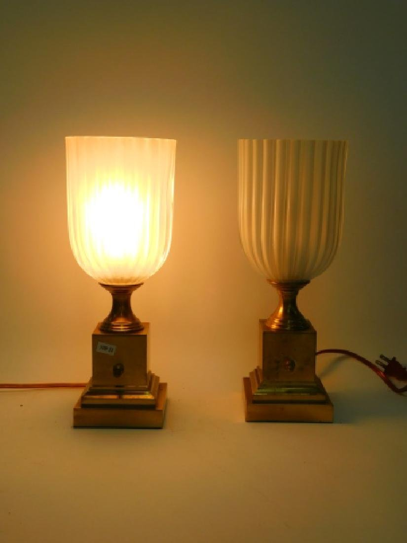 PAIR OF BRASS TABLE LAMPS - 2