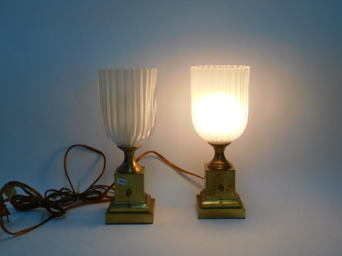 PAIR OF BRASS TABLE LAMPS - 3