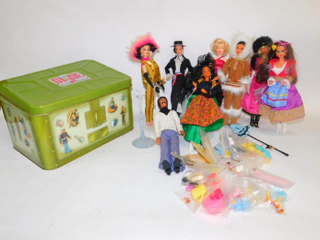 GI JOE TIN BOX WITH BARBIES AND ACCESSORIES