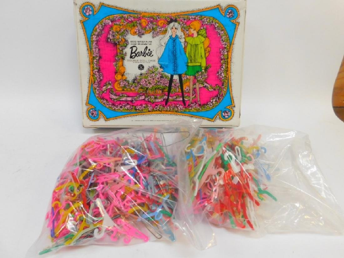 BARBIE DOLL CASE AND CLOTHING HANGERS