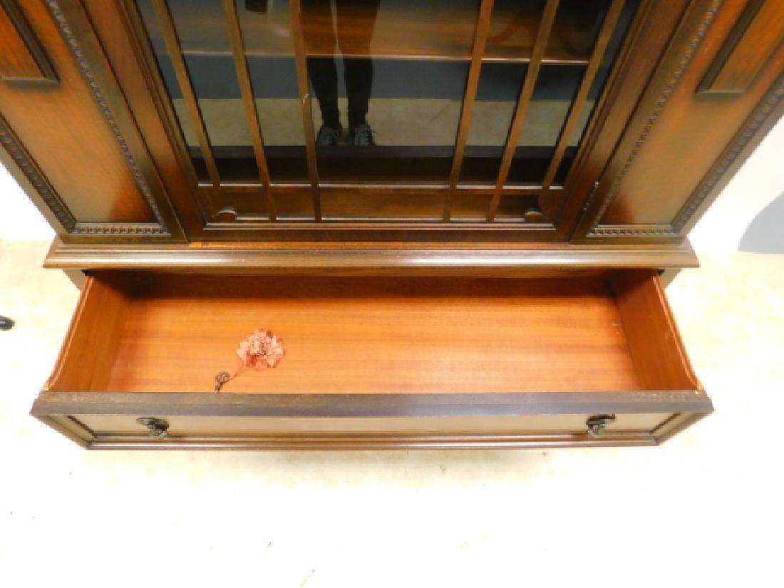 WALNUT ONE DOOR CHINA CABINET - 2