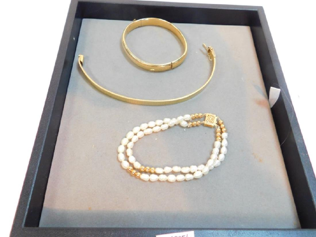 14K GOLD CLASP PEARL BRACELET W/ TWO OTHERS