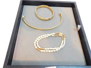 14K GOLD CLASP PEARL BRACELET W TWO OTHERS