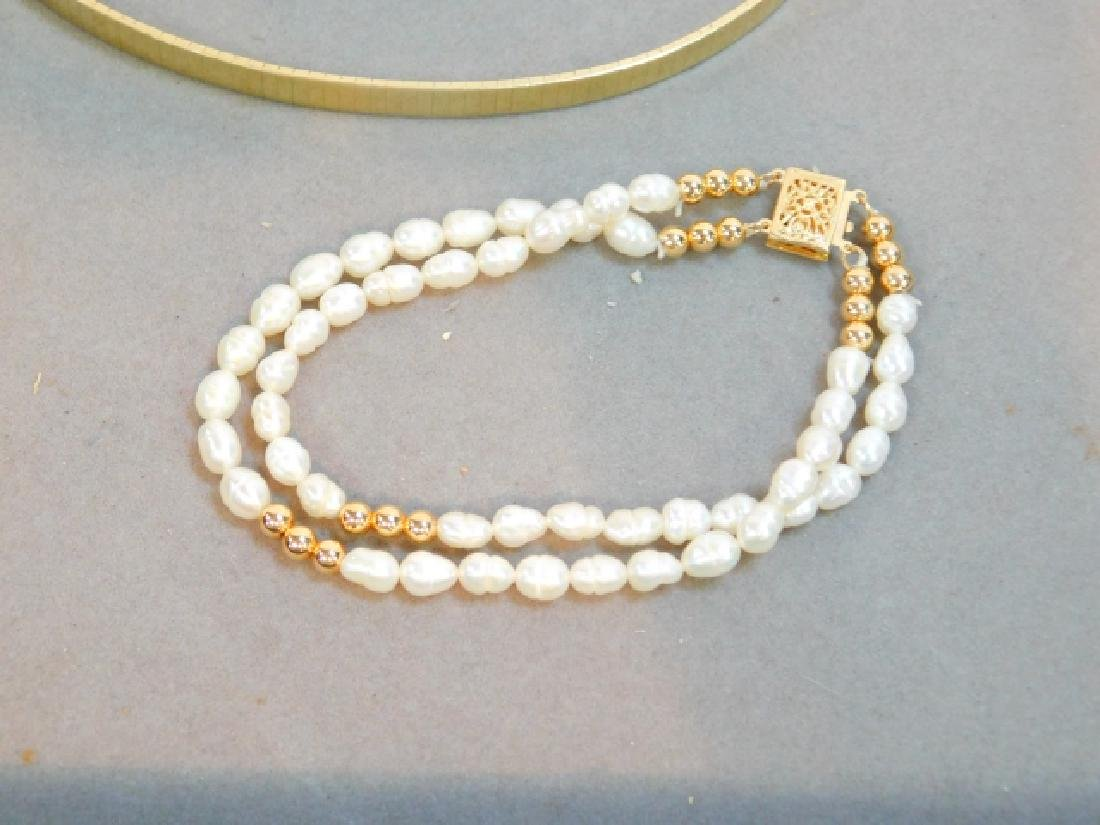 14K GOLD CLASP PEARL BRACELET W/ TWO OTHERS - 2