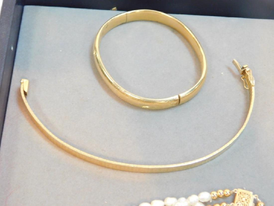 14K GOLD CLASP PEARL BRACELET W/ TWO OTHERS - 3