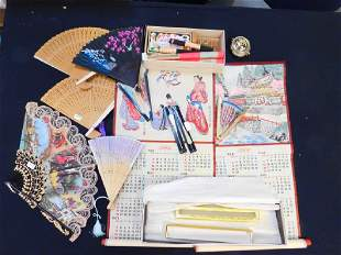 COLLECTION ASIAN FANS SCROLLS INCENSES