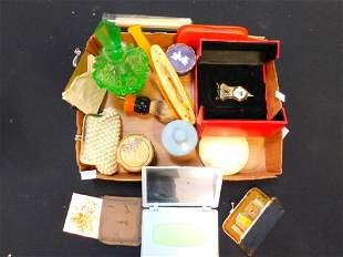 VINTAGE PERFUME BOTTLES POWDER BOXES PURSES