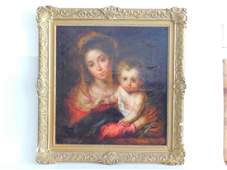 OIL ON CANVAS WOMAN WITH CHILD