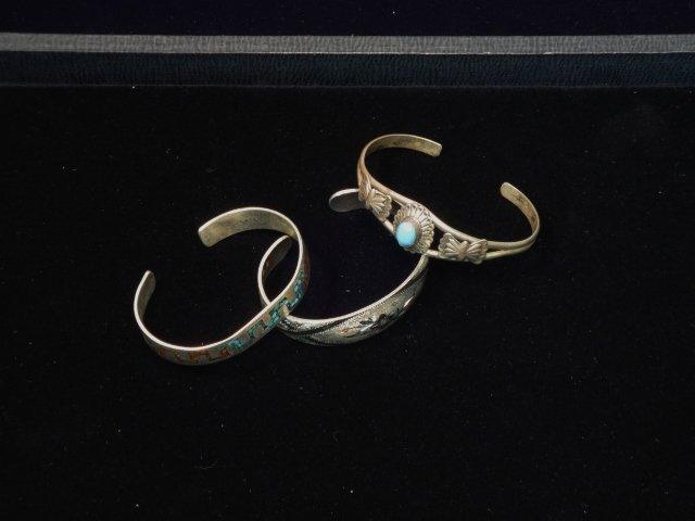 3 Sterling Cuff bracelets