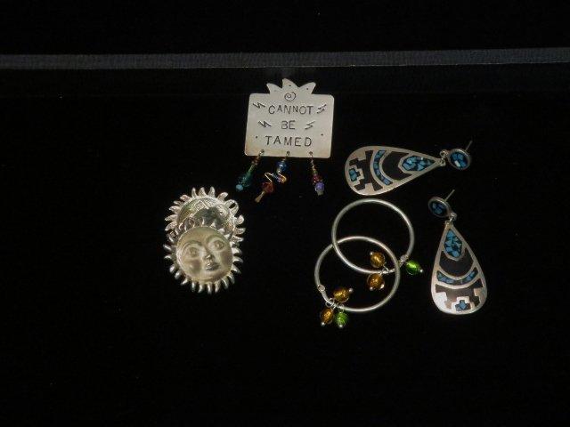 3 Pairs Sterling Earrings, 1 Sterling pin