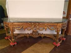 Heavily Carved French Console Table