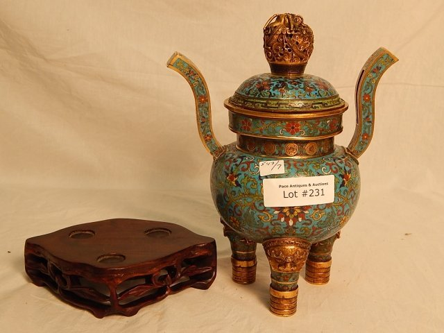 ORIENTAL BRONZE AND CLOISONNE URN