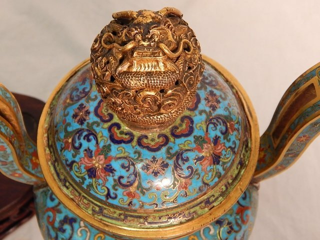ORIENTAL BRONZE AND CLOISONNE URN - 2