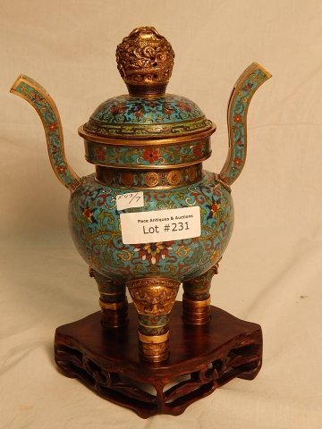 ORIENTAL BRONZE AND CLOISONNE URN - 4