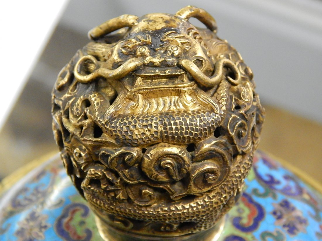 ORIENTAL BRONZE AND CLOISONNE URN - 8