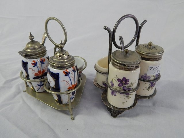 LOT OF TWO CONDIMENT SETS FLOWERS