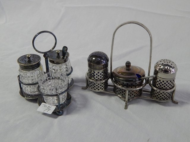 ENGLISH CONDIMENT SETS LOT OF 2 CRYSTAL