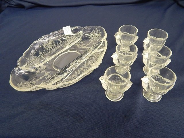 HEISEY ETCHED PICKLE TRAY EGG HOLDERS