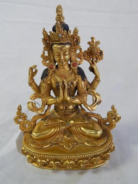 SMALL BRONZE BUDDHA GOLD DORE STONES APPLIED