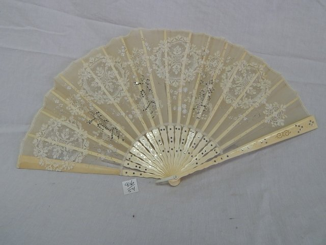 BONE FAN WITH EMBROIDERY SEQUINS