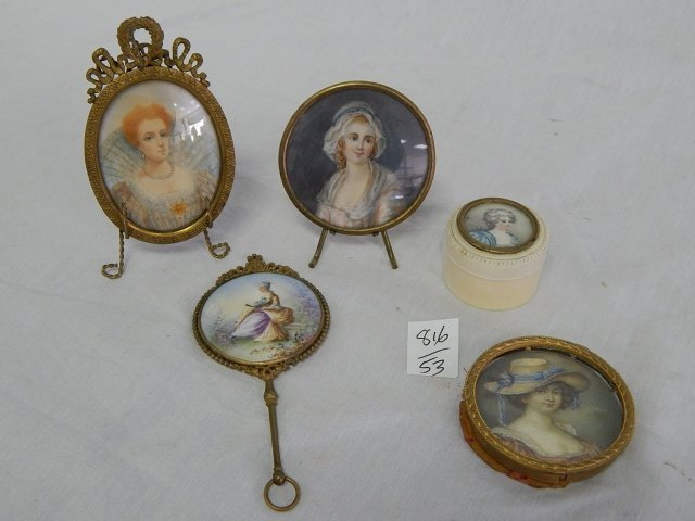 5 HAND PAINTED VICTORIAN PORTRAITS