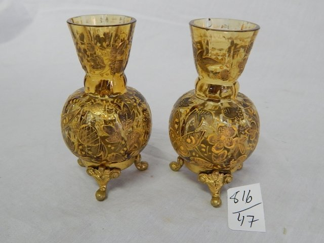 PAIR VICTORIAN HAND PAINTED VASES